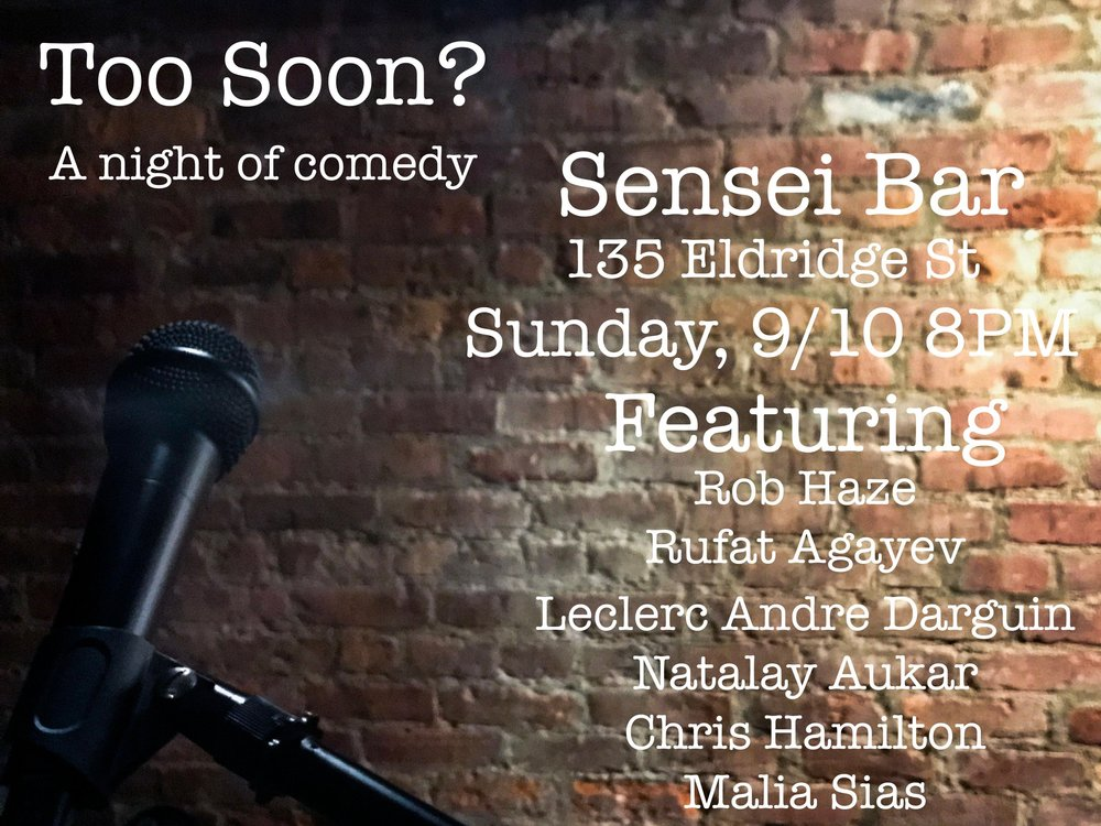 A new weekly show I'm Co-Hosting with Chris Hamilton. Every Sunday at 8Pm In the basement room of the Sensei Bar. 135 Eldridge. Ny, Ny.