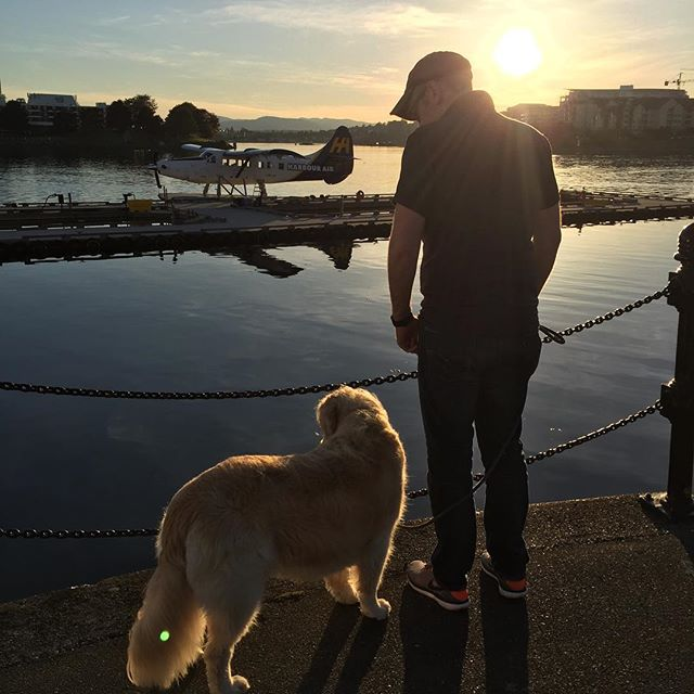 This man, this dog, a seaplane, golden hour. 💖
