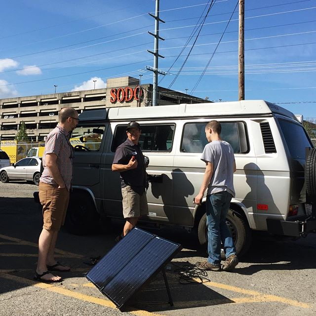 The guys at @peacevans are amazing. Not only did they tune our van up perfectly, but @you.got.jimmered spent time on a Saturday tweaking our new solar panel for us. We just leveled up... cannot wait for our next trip with solar AND a Fiamma awning. Cheers 🍻guys!!