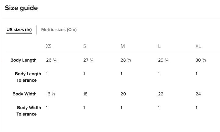 BELLA CANVAS UNISEX V-NECK Size Chart