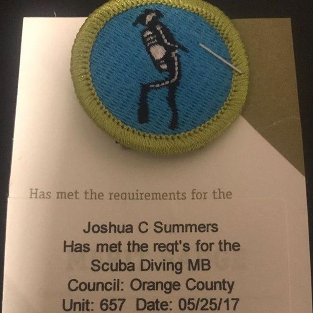 Congratulations to an awesome diver for getting his merit badge. #scuba #scubadiving  #boyscoutsofamerica