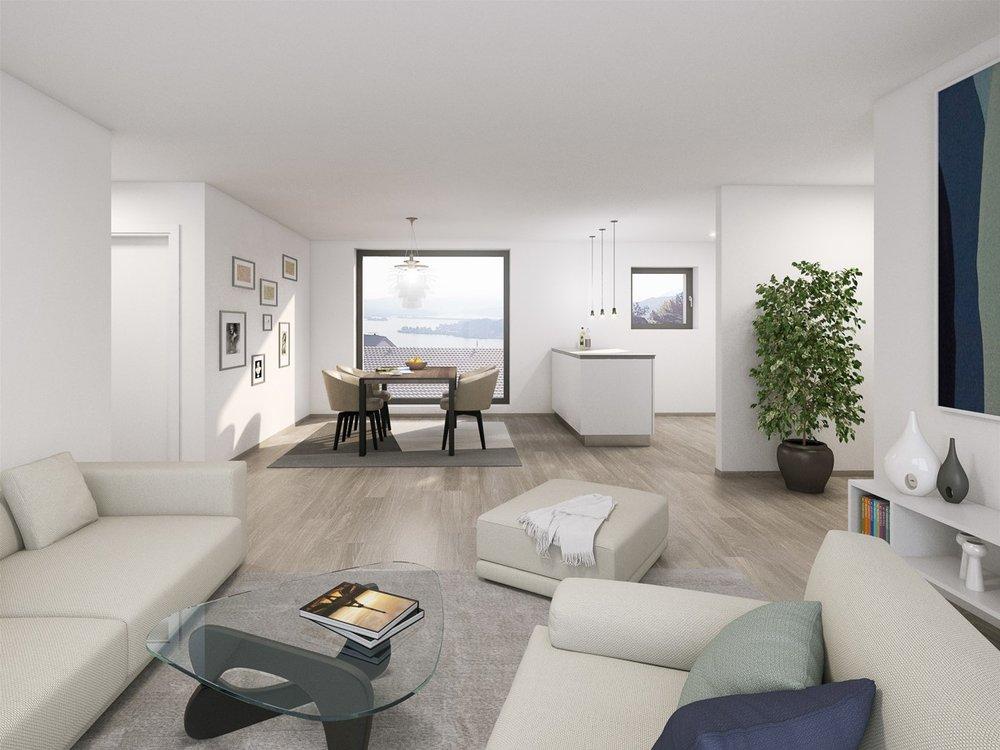 Innenansicht Wohnzimmer Überbauung VISIT Richterswil Zürich Verkauf und Immobilienvermarktung Boll Immobilien