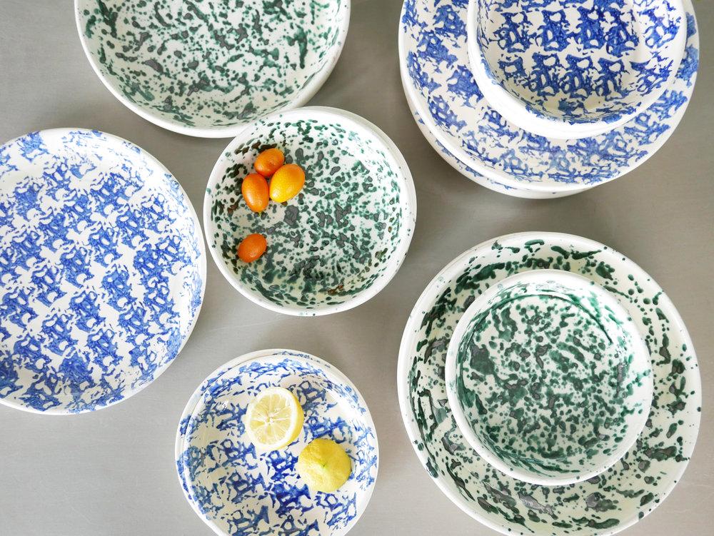 Datcha - assiettes Mogador. assiettes faience bleu et vert. Handmade in Spain