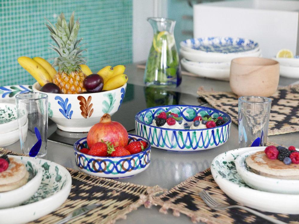 Datcha - vaisselle Mogador. Céramique bleu et vert d'Andalousie