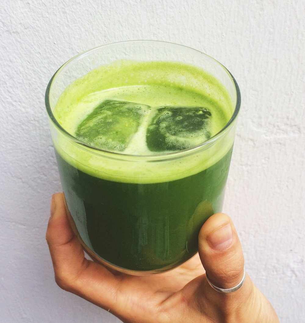 "I always start my morning with a green juice - this is one of the best ways to get vibrant energy and to get more living foods into your diet, particularly greens. It's an amazing way to ""break the fast"" as the body is open and receptive to absorbing and assimilating nutrients efficiently due to being in a fasted state. By starting the day with a green juice, you increase the body's ability to effectively absorb the micr  o nutrients into the blood stream and cells, nourishing your body on a cellular and micro level."