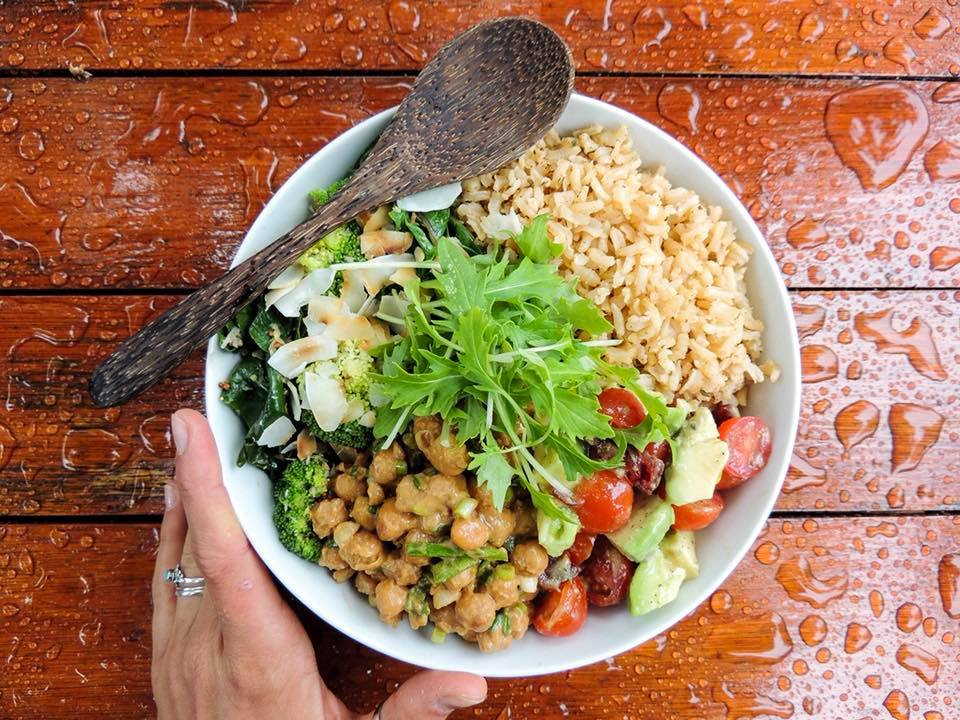 A delicious feast of Spicy Satay Chickpeas with Scallions, Coconut Greens, Brown Rice & Salsa