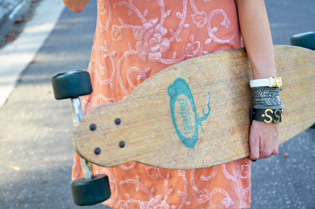Skateboard and Sequin Dress