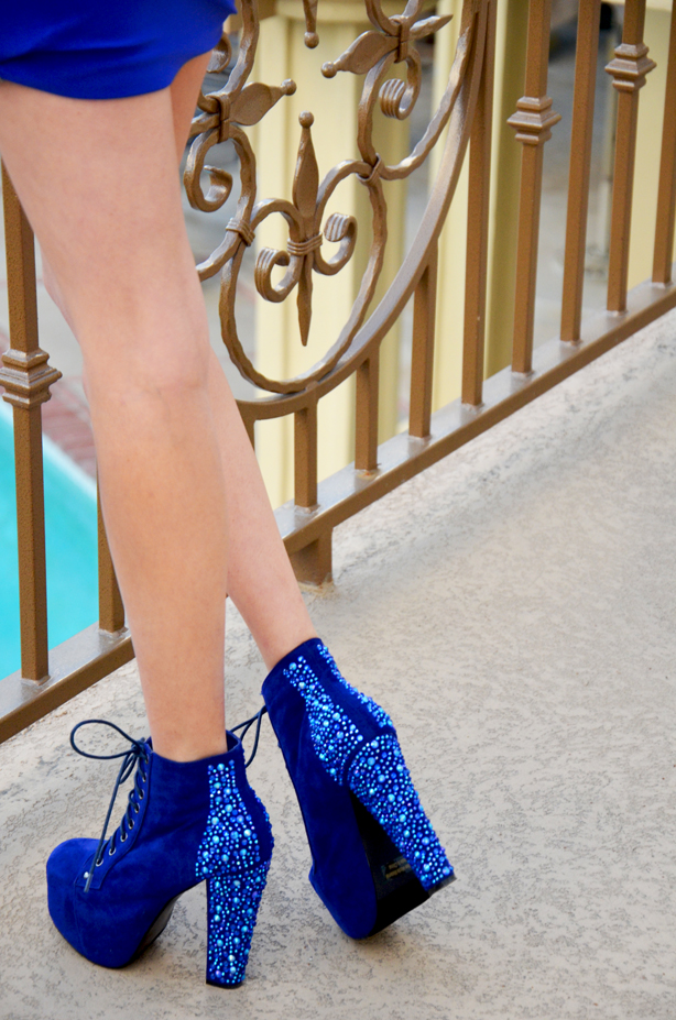 blue studded heels