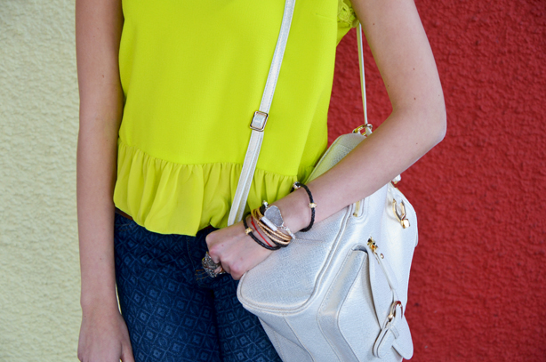 layered jewelry and backpacks
