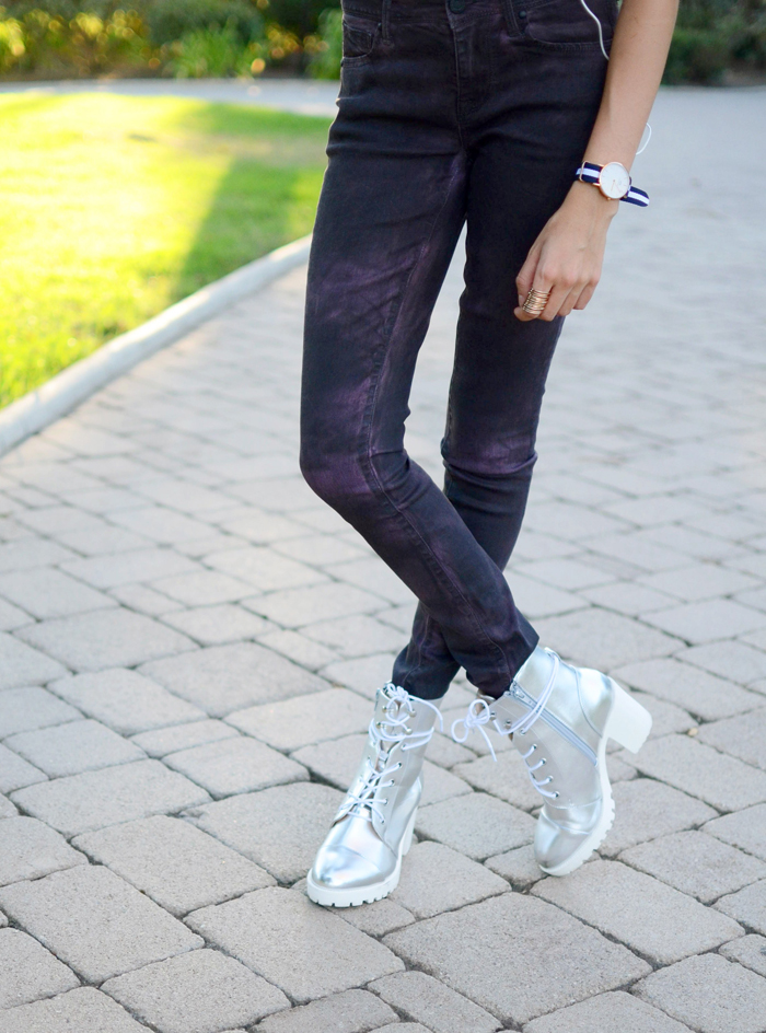 purple jeans metallic shoes