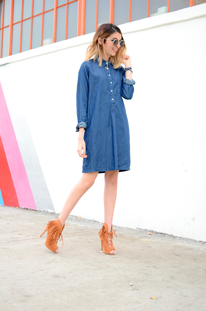 jean dress fringe shoes