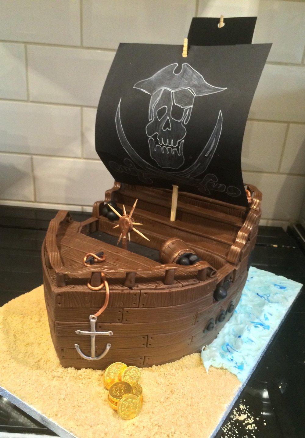 A Chocolate Pirate Ship Cake, Argghh!