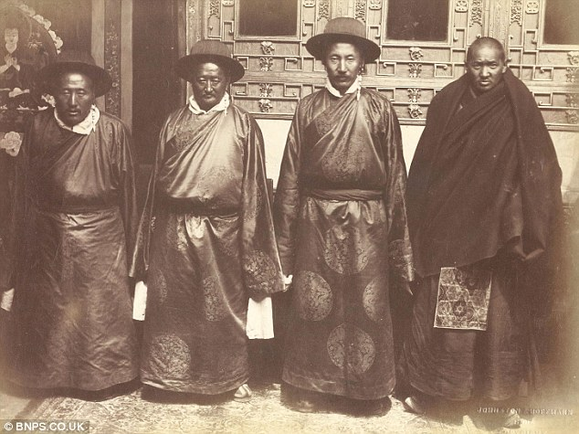 The Council of four in the Potala palace. The fleeing Dalai Lama left these officials behind to negotiate with the British - photograph by John Claude White