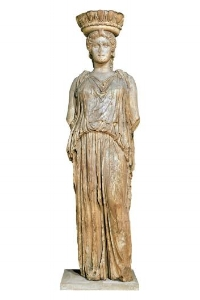 Caryatid  from the Erechtheion, Arcopolis of Athens, taken to England by Lord Elgin in 1806. The remaining five caryatids, which supported the portico of the temple, are held in the Acropolis Museum of Athens.