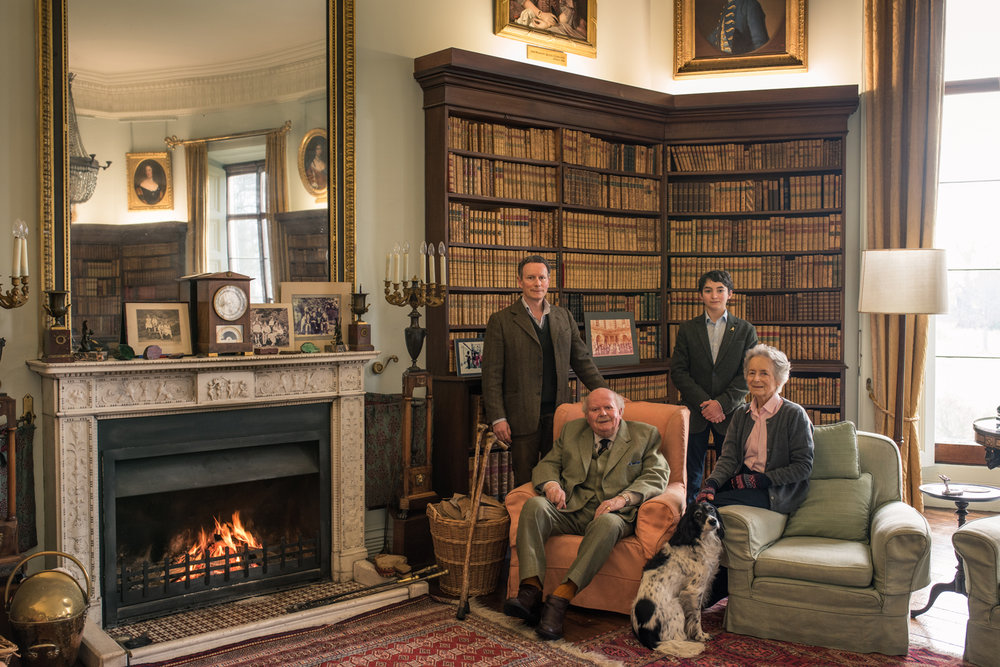 The Earl and Countess of Elgin (seated), with Lord Bruce, Benedict Bruce and Thistle the dog