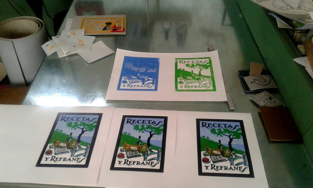 The book cover for Recetas y Refranes has been completed by Sarah Godsill. It is a five-colour suicide print, sometimes more prosaically known as a reduction print. The block is destroyed in the process if making the print.