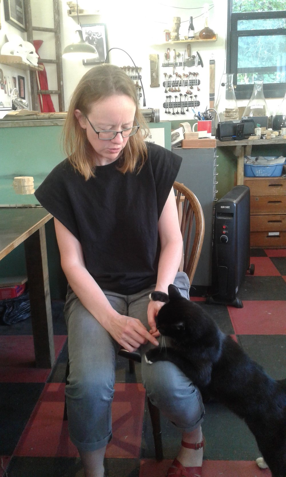 Leonie Bradley, artist printmaker and editor of Printmaking Today, with Geoff, most beloved cat.