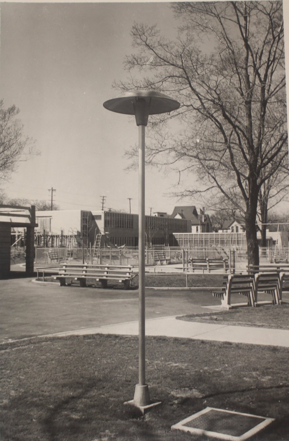 LIGHTING AND SHADED BENCHES AT PARK-PLAYGROUNDS