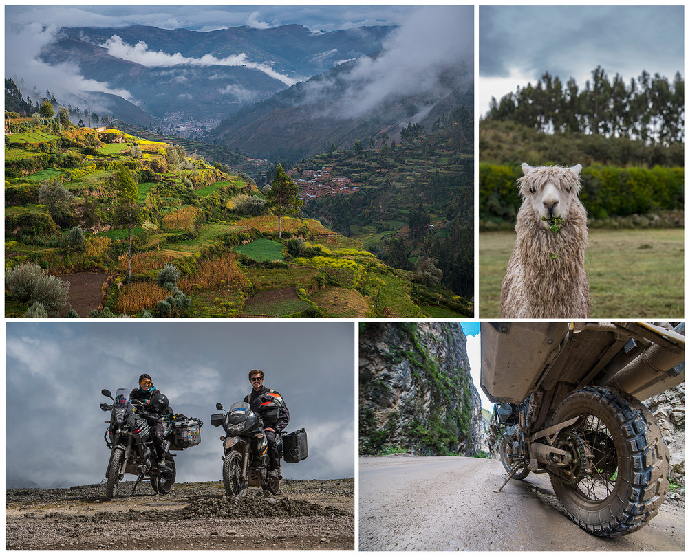 Tarma, the all present Llamas, Siri and Pascal above the clouds and some muddy roads
