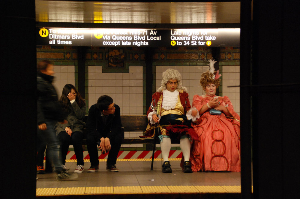 Halloween night at Union Square subway station. N/Q/R platform. Oct. 31, 2014.