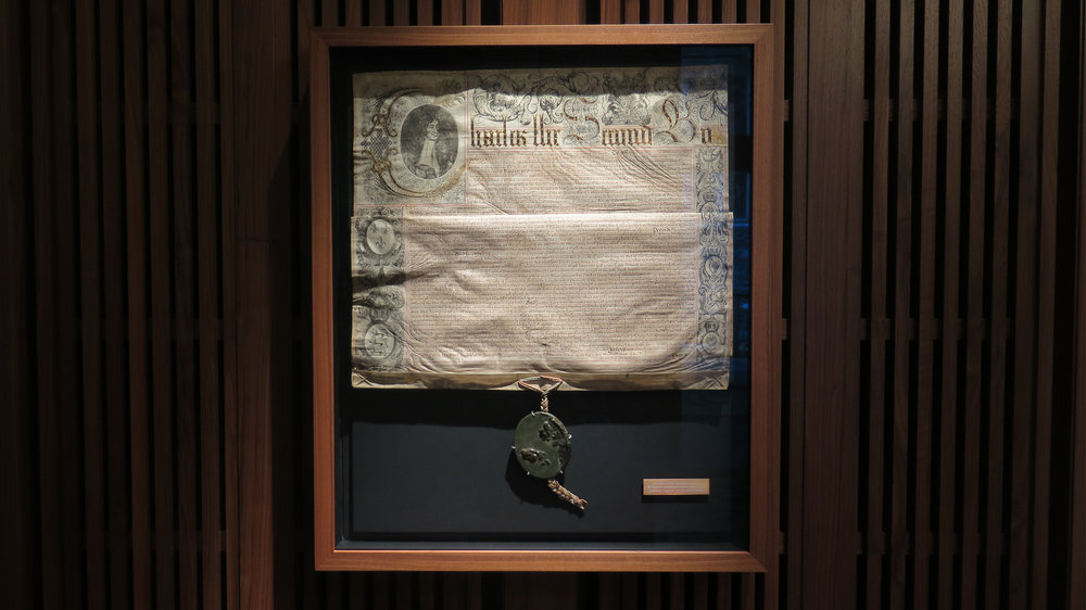 The 1685 Charter, forced upon the Leathersellers' by King Charles II, who had dissolved Parliament a few years before. According to lore, the royal seal of this hated document was crushed under the Leathersellers' heals around the time of his death.