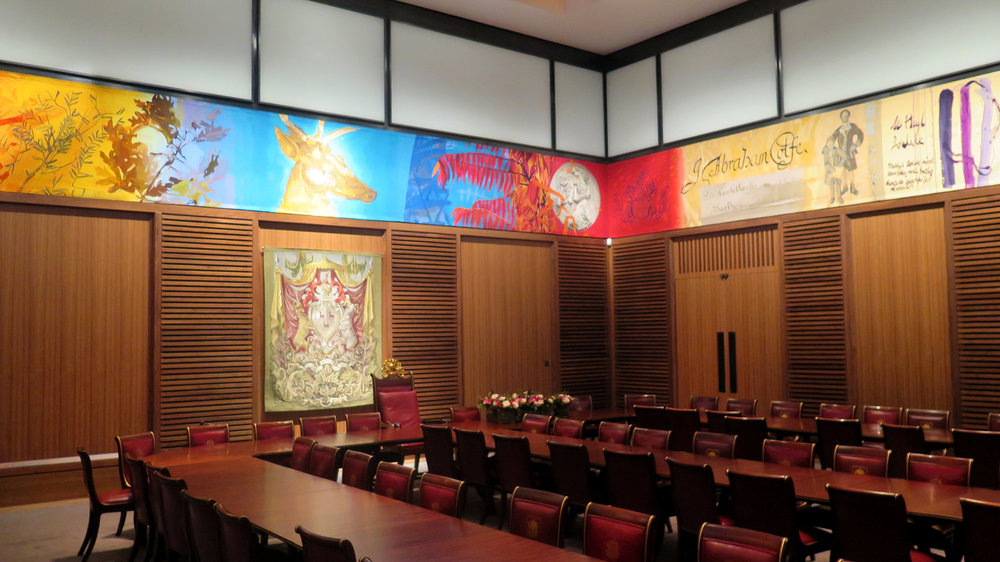 The Great Hall, featuring a huge hand-woven tapestry by Dovecot Studios.