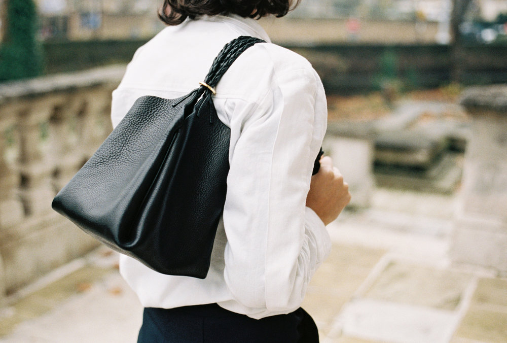 tallowin baluchon handbag as worn over the shoulder