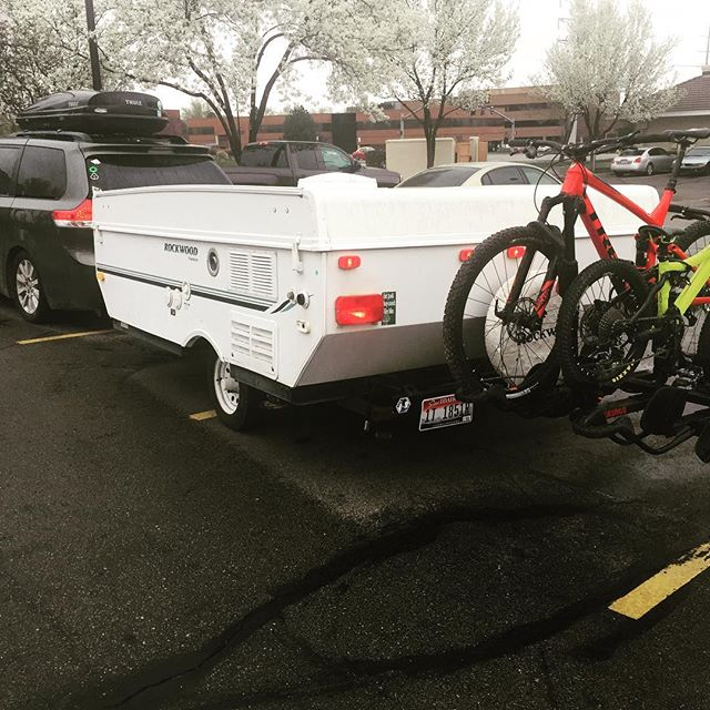 Hoping for dryer weather in Moab.  Mommy's bike gets to stay clean in the van!  Stay tuned for kids riding stories from Moab.  #desertbiking #raiseriders #familycamping #buddypegs