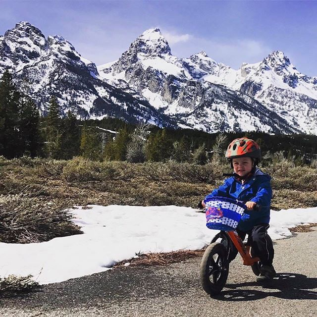 Some of us stayed behind from @seaotterclassic and spent Earth Day riding in Grand Teton National Park before they open the road to cars!  #raiseriders #sciencenotsilence #buddypegs #morekidsonbikes #earthday