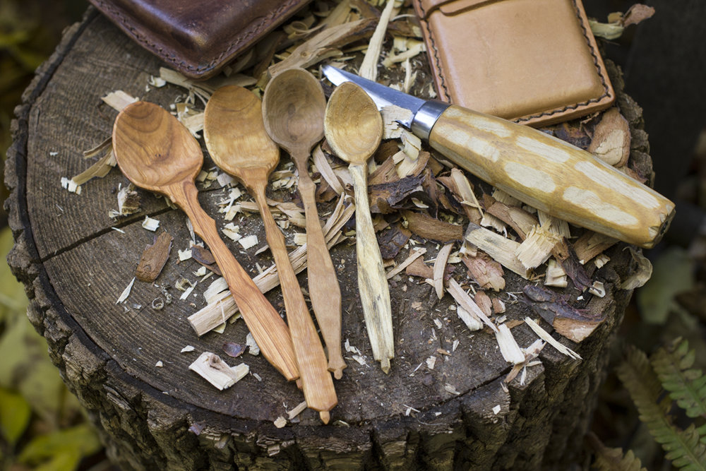 How it's done   Here are some buckthorn, walnut, and birch demitasse spoons in progress.