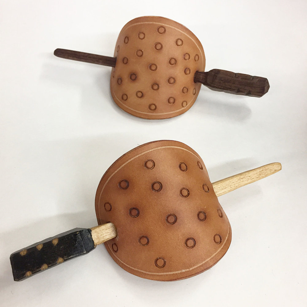 Leather and Wood barrettes