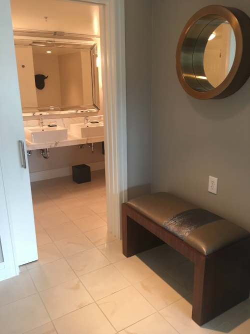 Seating area and bathroom