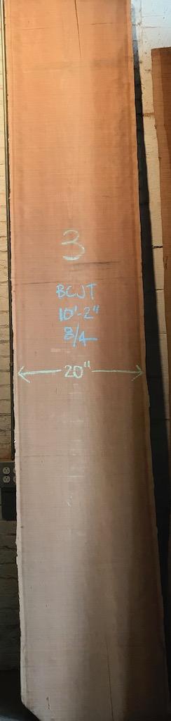 """BCJT - 3     10'-2"""" L x 20"""" W x 2"""" T    34bf @ $25/bf    $847"""
