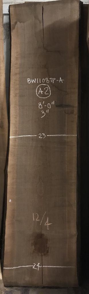 """BW1108TPA-A2    8'-0"""" L x 23.5"""" W x 3"""" T    47 bf @ $25/bf    $1175"""