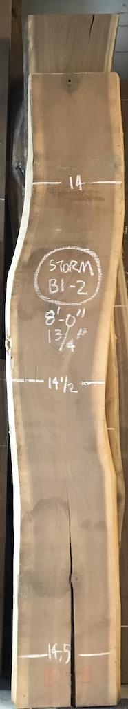"""BWWOSTORM-B1-2    8'-0"""" L x 14"""" W x 1.75"""" T    16.3 bf @ $20/bf    $327"""