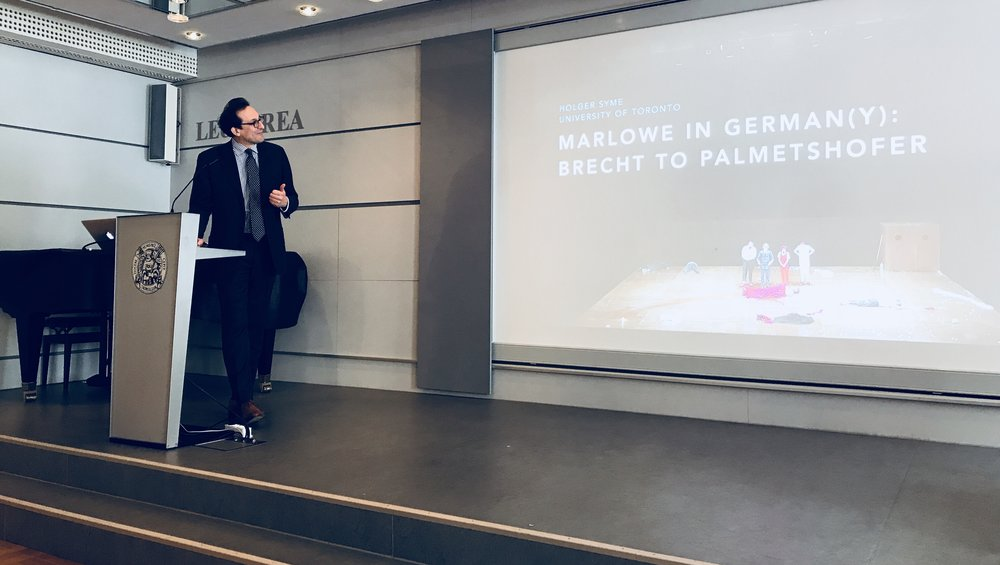 Holger Schott Syme delivers the first keynote of the conference—about Marlowe in the German theater since Brecht.