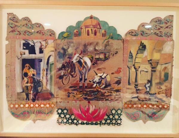 Cardboard Triptych with Bindis