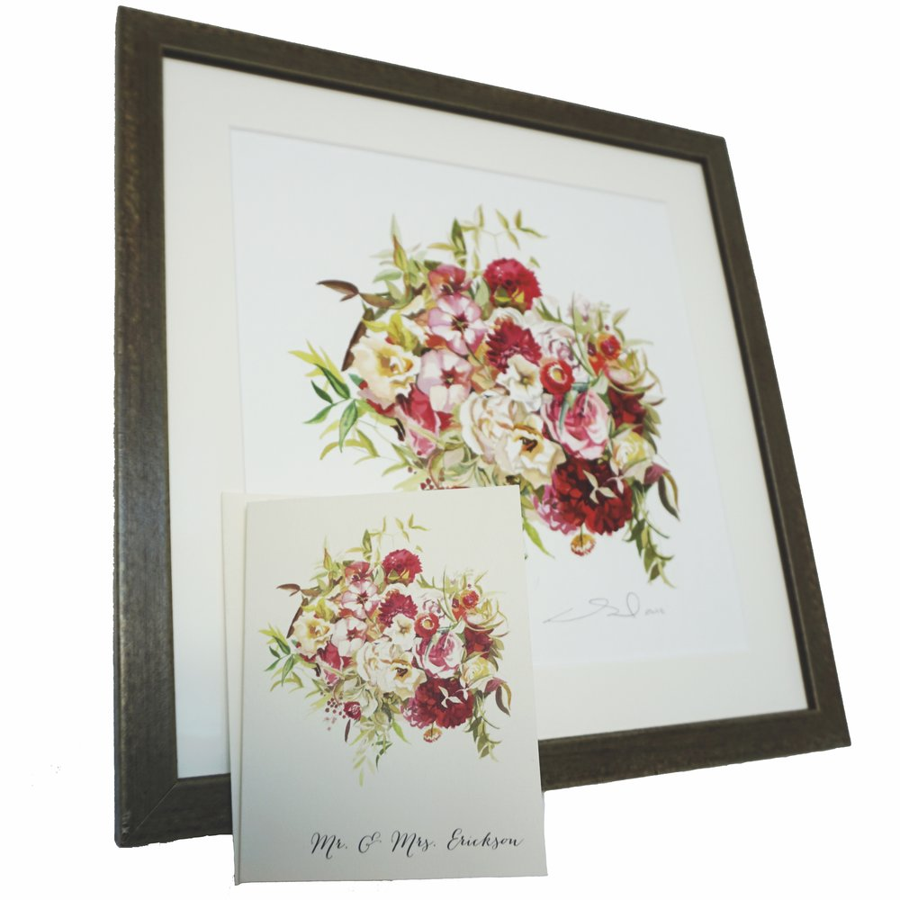 Custom Bridal Bouquet painting + stationery