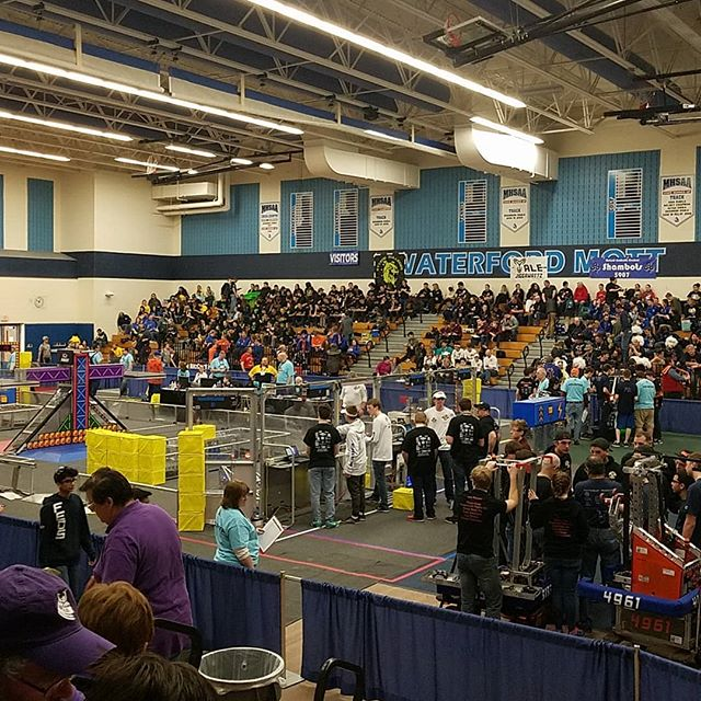 Excited to be at Waterford today! Good luck to everyone competing today! #omgrobots #powerup #firstrobotics