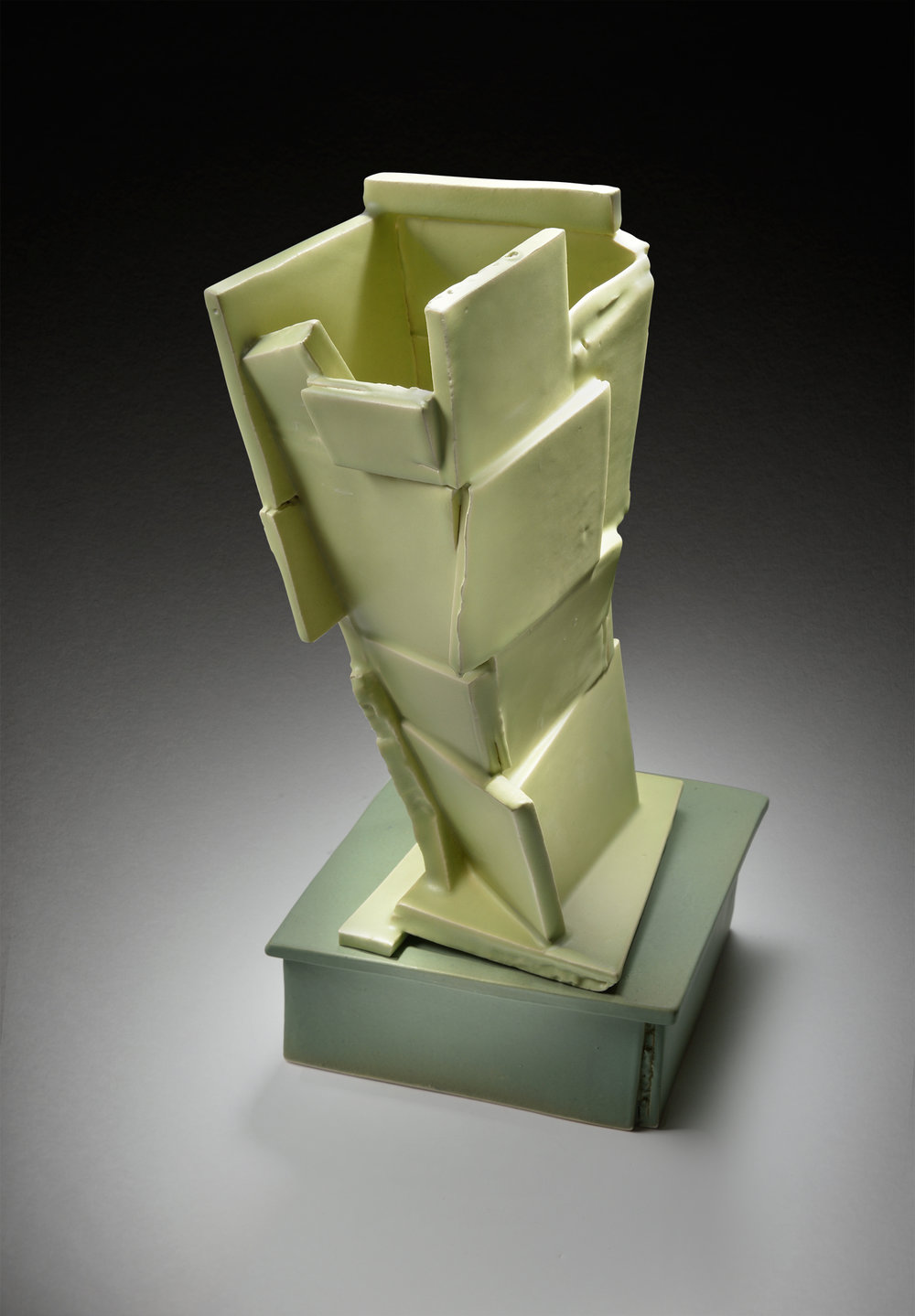 Tilted Green Vase on Base