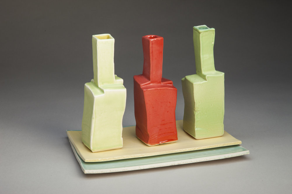 3 Vases On Slab Base
