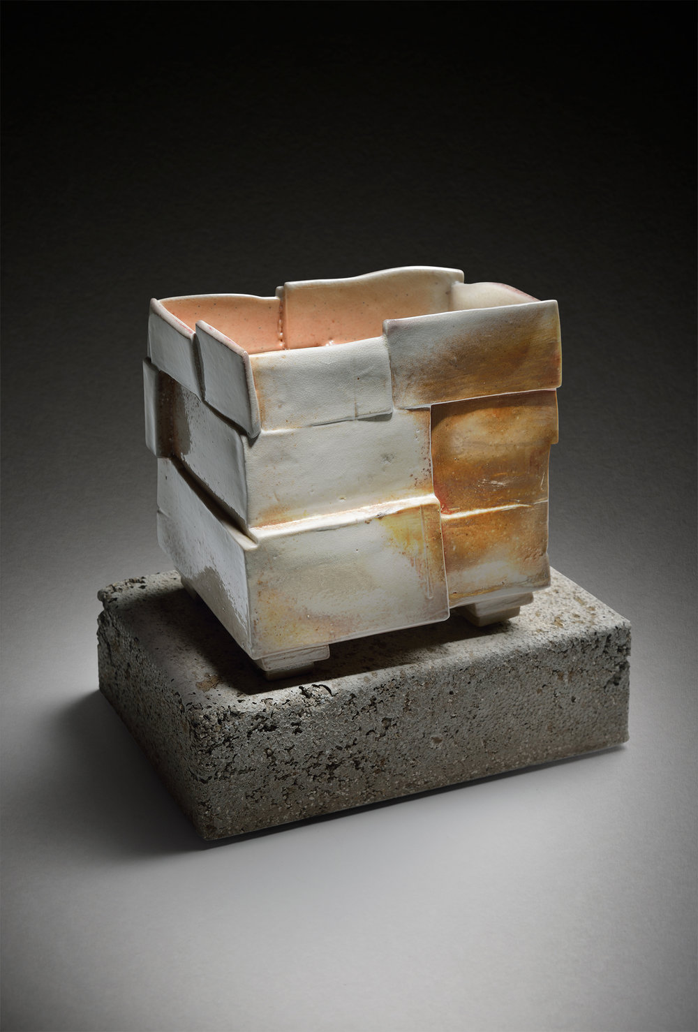 Wood Fired Vase Box on Cement Base