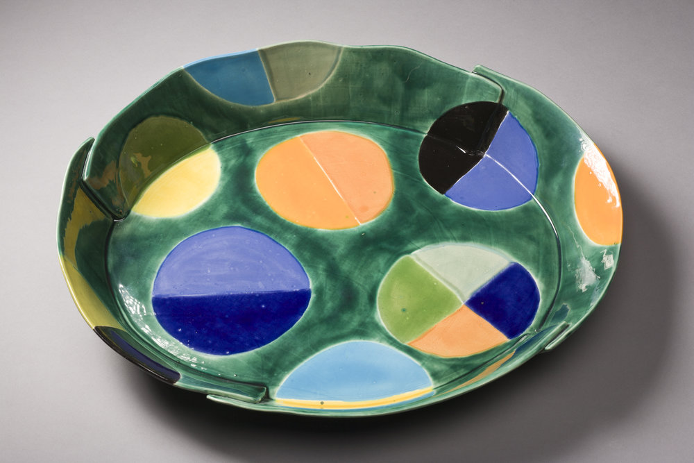 Green Platter With Circles