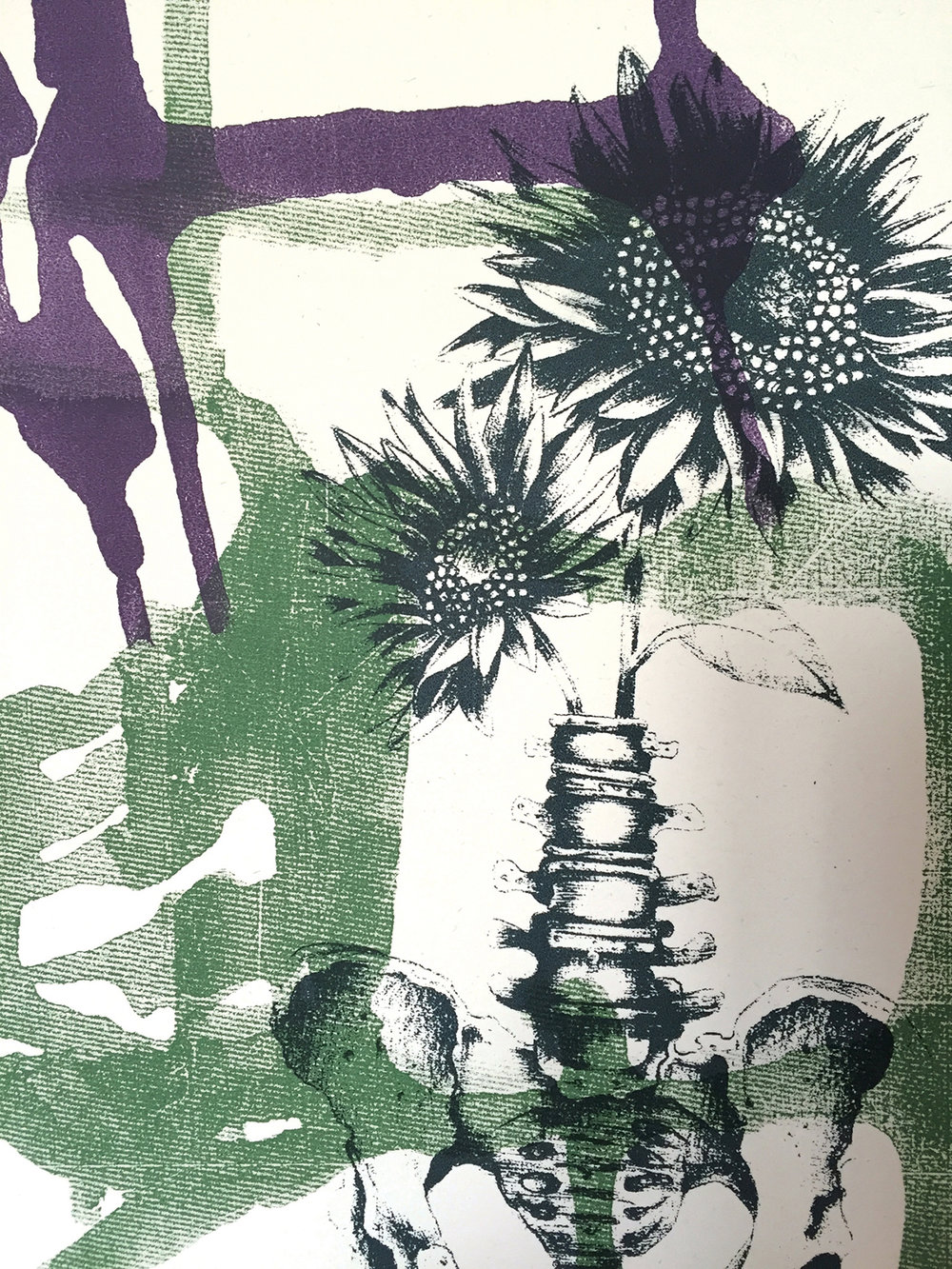 """Sunflowers on yellow"" 30 x 20 cm Screenprint (Monoprint) 2016"