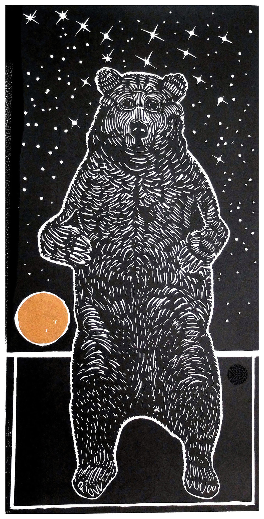 """ The Great Bear""  Lino Print  58 x 28 cm  Edition of 8"