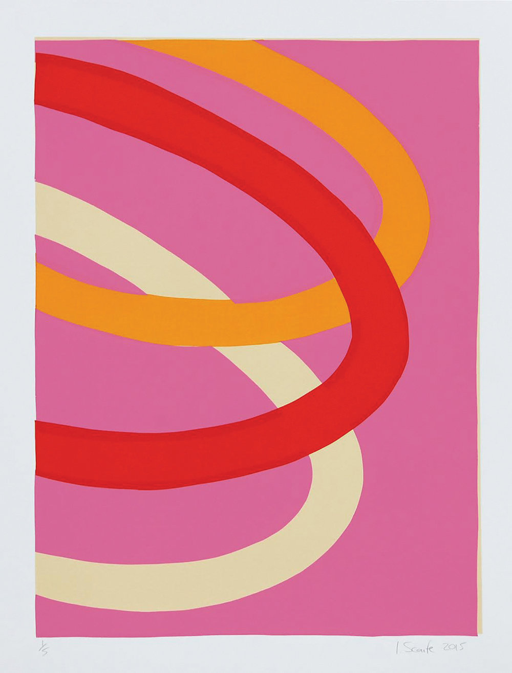 """Pink Loops""  Screenprint,  56 x 41.5cm  2015"