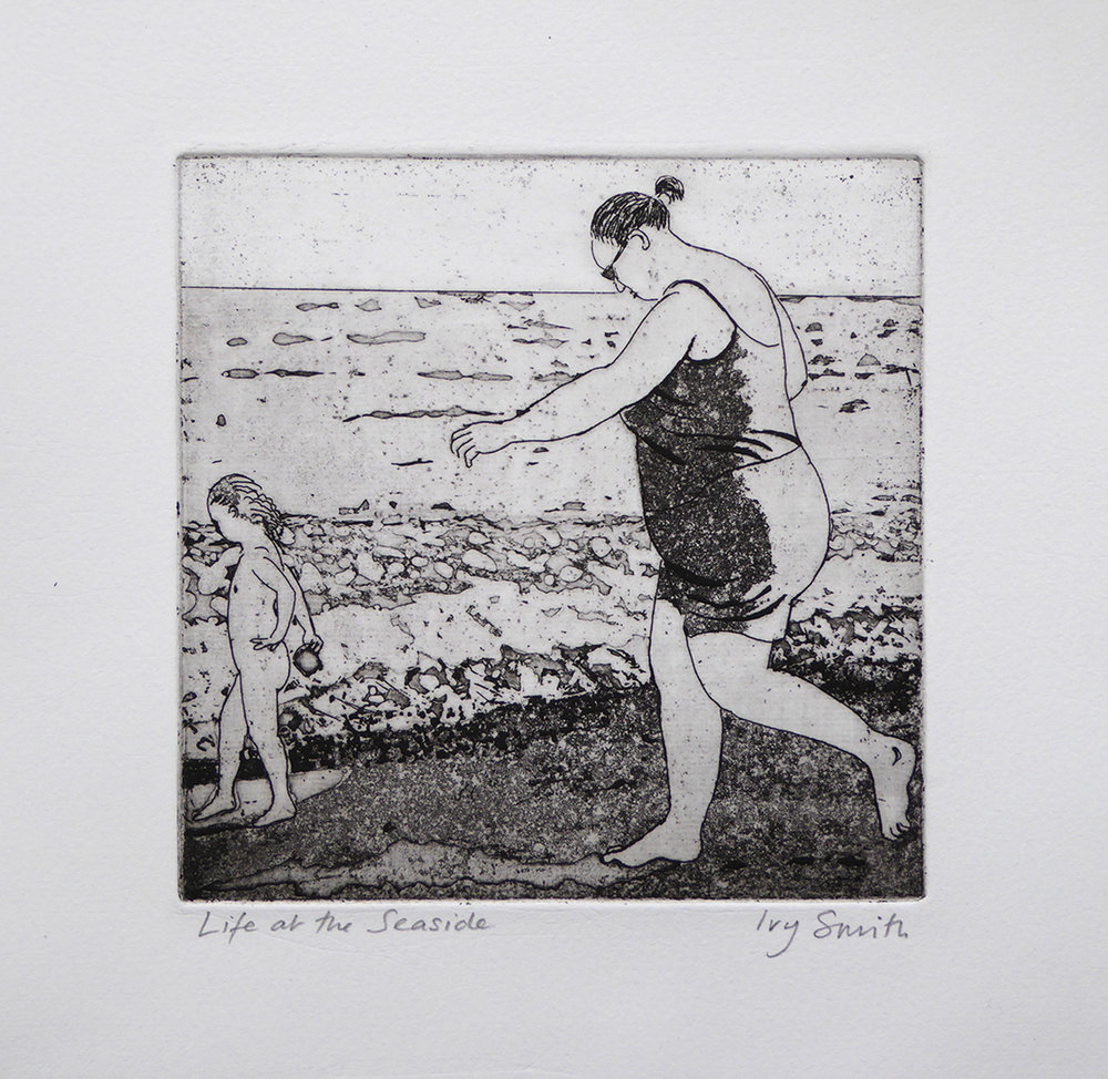 Life at the Seaside (1) Etching 15 x 15cms (6 x 6ins) 2016