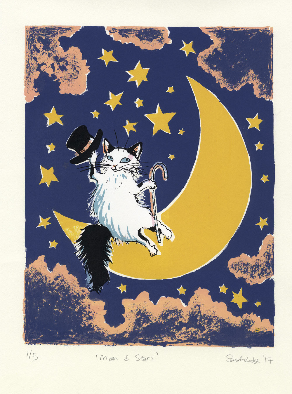 Moon and Stars   Screenprint