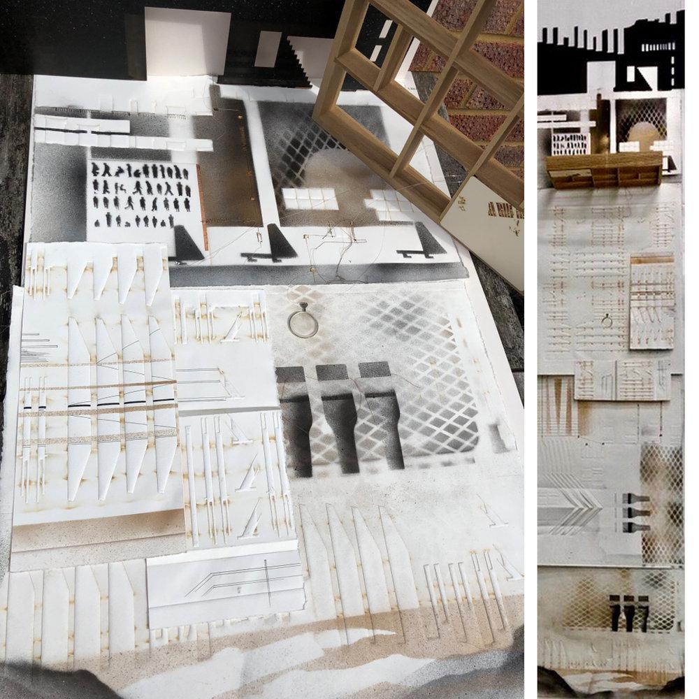 DISTRICT 69-Installation I   MIXED MEDIA ASSEMBLAGE-HYBRID PRINTMAKING