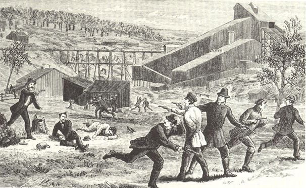 Gun Battle between Molly Maguires and Coal Company Guards. September 2, 1875
